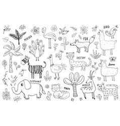 Animal doodles set cute animals sketch hand drawn vector