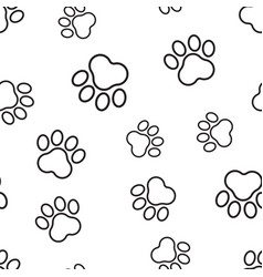 Animal paw print seamless pattern background vector