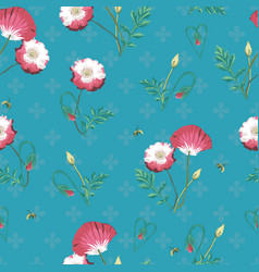 Aqua poppies and bees seamless repeat vector