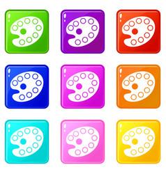 Art palette icons 9 set vector