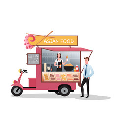 Asian street market truck with takeaway barbecue vector