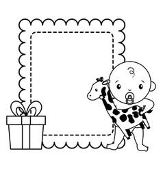 baboy with giraffe gift bashower vector image