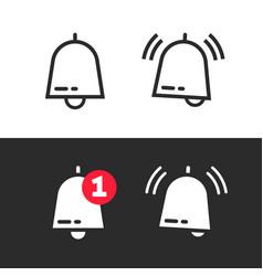 bell line outline art icon or doorbell flat vector image