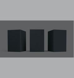 Black box package mock-up set black carton vector