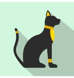 Black Egyptian cat icon flat style vector image