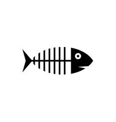 black fish skeleton icon isolated fish bone sign vector image