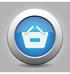 Blue button - shopping basket minus vector