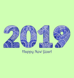 blue patterned figures 2019 year happy new year vector image