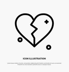 broken love heart wedding line icon vector image