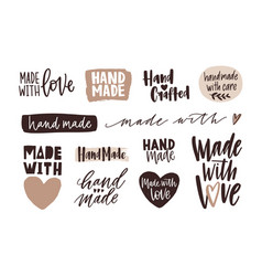 bundle of hand made letterings for labels or tags vector image