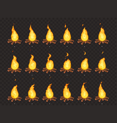 Burning bonfire animation hot fire outdoor vector