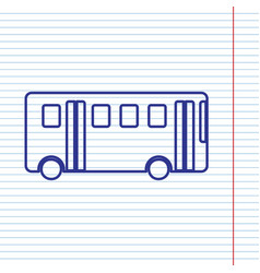 bus simple sign navy line icon on vector image