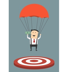 Businessman with parachute landing on target vector image