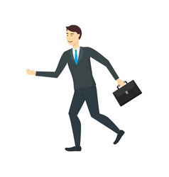 cartoon character businessman running with vector image
