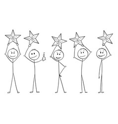 Cartoon of five men or businessmen holding stars vector