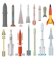 cartoon rocket weapon icon set different type vector image