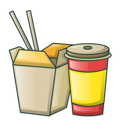 chi box and soda icon cartoon style vector image