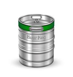Classic chrome metallic beer keg barrel vector