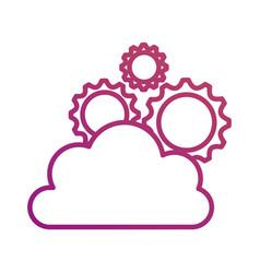 Cloud computing gears solution teamwork network vector