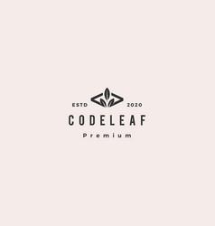 code leaf leaves logo hipster retro vintage vector image