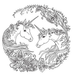 coloring unicorn 10 vector image