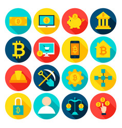 cryptocurrency bitcoin flat icons vector image