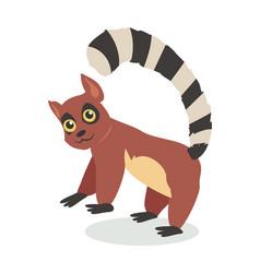 cute lemur cartoon icon in flat design vector image