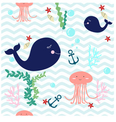 Cute under water world whale and jelly fish vector