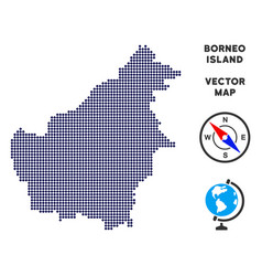 Dot borneo island map vector