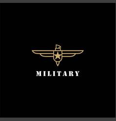 eagle hawk falcon line style military badge logo vector image