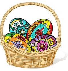 easter egg in basket - vector image