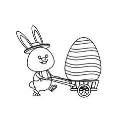 Easter rabbit with decor egg wheelbarrow line vector