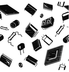 Electronic components in retro vector