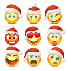 Emoji and sad new year hat icon set vector