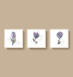 fashionable set abstract cards with hand-drawn vector image