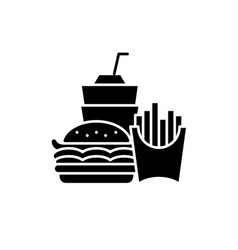 fast food business black icon sign on vector image