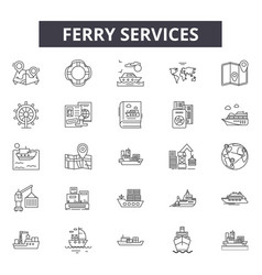 Ferry services line icons for web and mobile vector