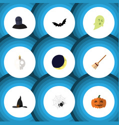 Flat icon halloween set of spinner witch cap vector