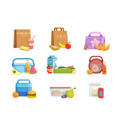flat set school lunch boxes and bags vector image