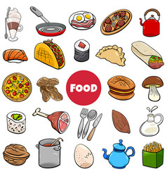 food objects big set cartoon vector image