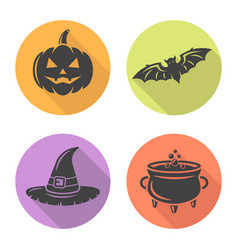 halloween flat design round icons with long shadow vector image