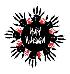 Halloween zombie palm logo vector