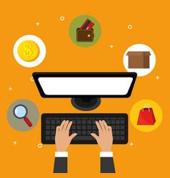 Hands working in the desktop computer vector
