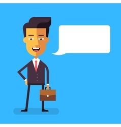 Handsome asian businessman with a briefcase vector image