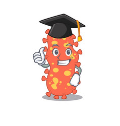 Happy face bacteroides in black graduation hat vector