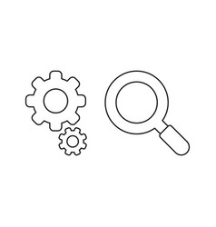icon concept gears with magnifier vector image