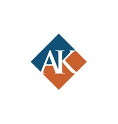 Initial ak rhombus logo design vector