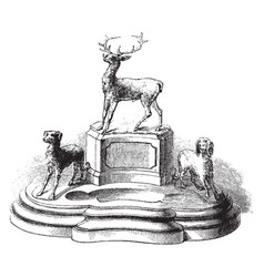 Inkstand writing vintage engraving vector
