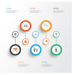 Job flat icons set collection of envelope work vector