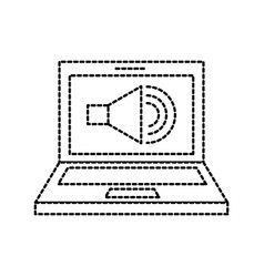 laptop audio speaker technology online vector image